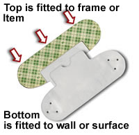 A diagram of J-Clip's two parts, the part that gets mounted to the wall, and the part that gets mounted to the picture or item